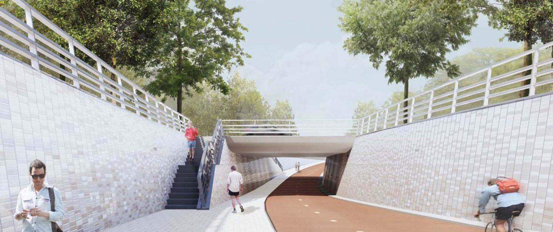 ontwerp Bio Science Park Leiden fietstunnel, ontwerp door ipv Delft