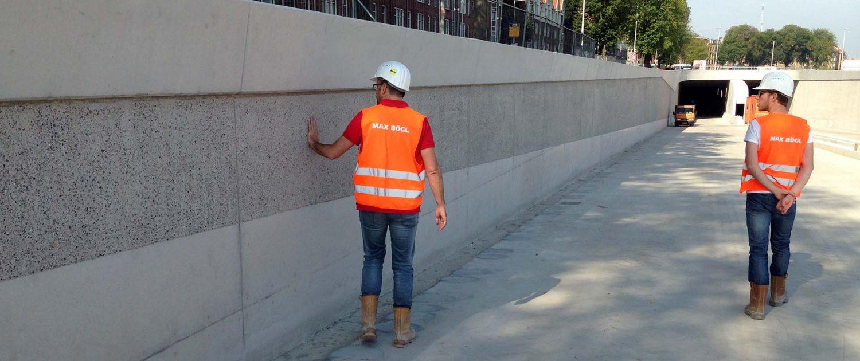 afwerking van tunnelwand onderdoorgang Spaarndam, ontwerp door ipv Delft