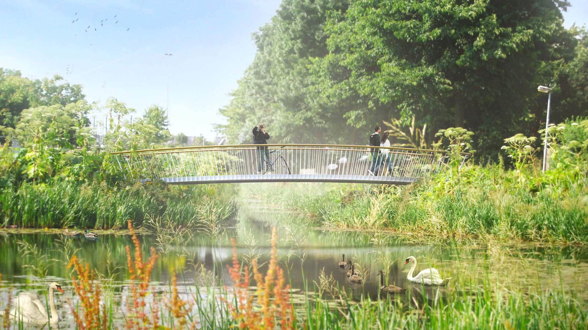 fiets en voetgangersbrug Den Bosch, bruggen in park, brugontwerp door ipv Delft