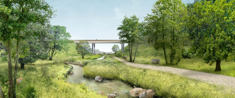 brugontwerpers voetgangersbrug beton hout esthetiek