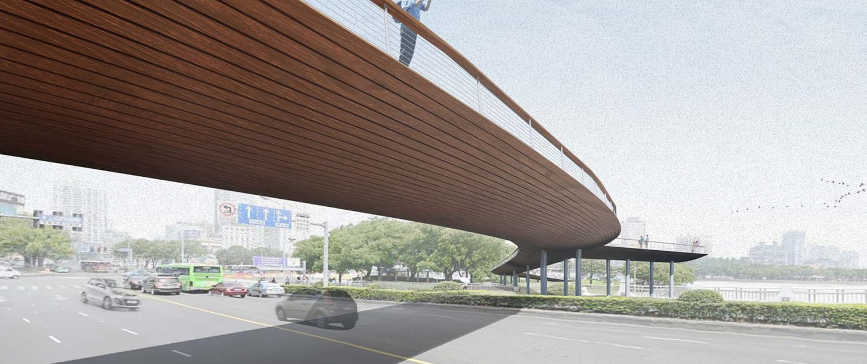 Jangxia Park fietsbrug voetgangersbrug houten brug