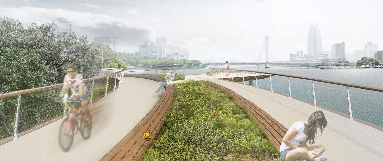 Jangxia Park Ningbo brugontwerp groenstrook zitgelegenheid fietsbrug voetgangersbrug