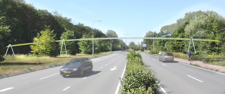 eekhoornpassage over weg, concept tekening, ontwerp door ipvDelft
