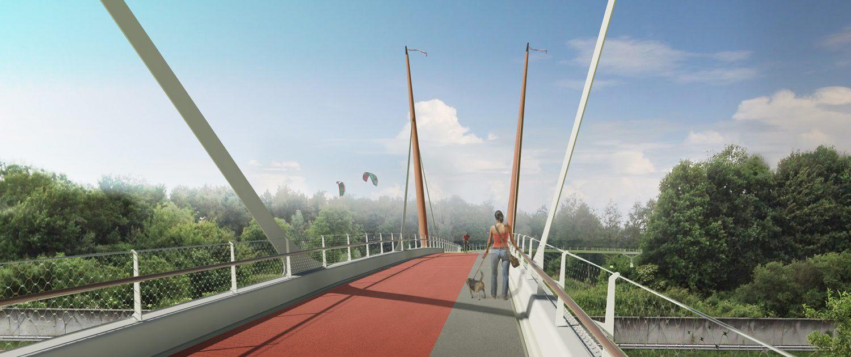 vooraanzicht verkeersbrug over snelweg concept tekening brugontwerp door ipvDelft