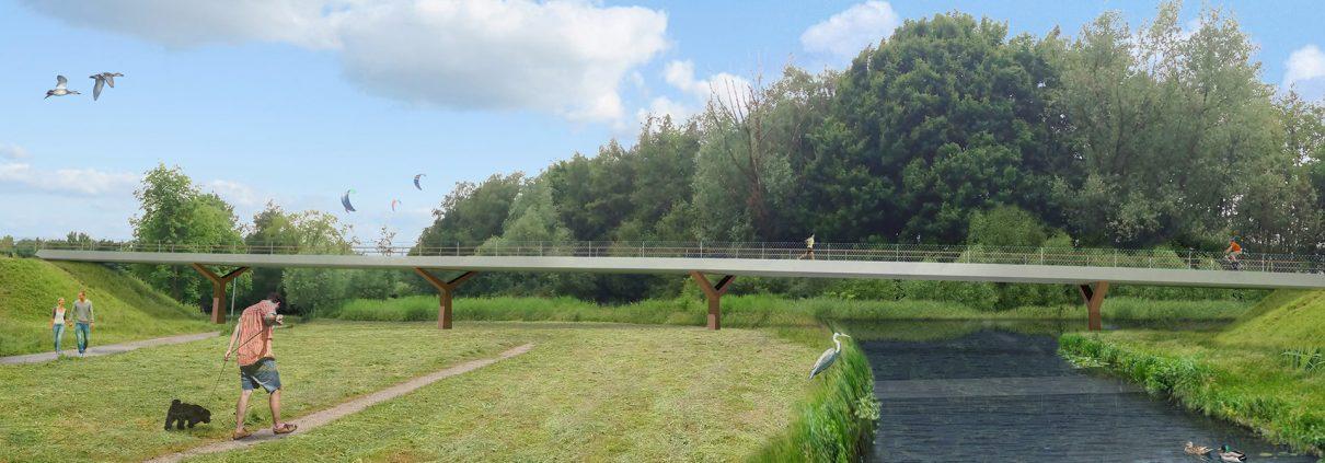 fiets en voetgangersbrug over het water, vanaf zuidoever, concept tekening door ipv Delft