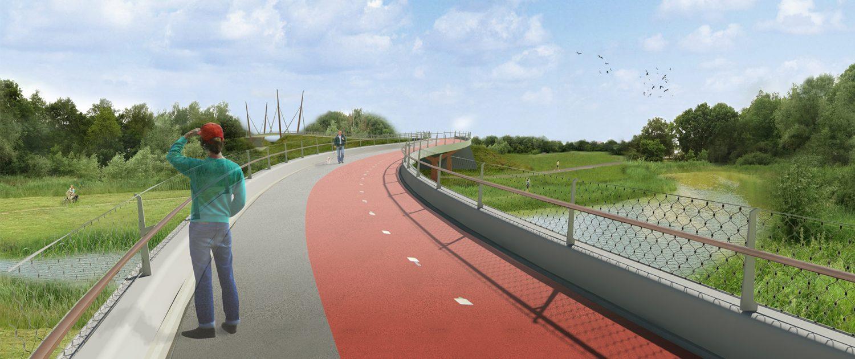 concept tekening verkeersbrug ontwerp door ipv Delft