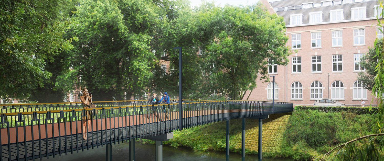 fiets en voetgangersbrug Den Bosch, concept tekening brugontwerp door ipv Delft