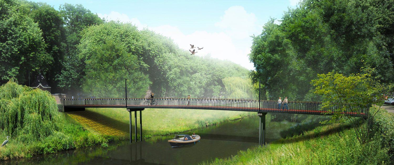 concept tekening fietsbrug en voetgangersbrug zijaanzicht