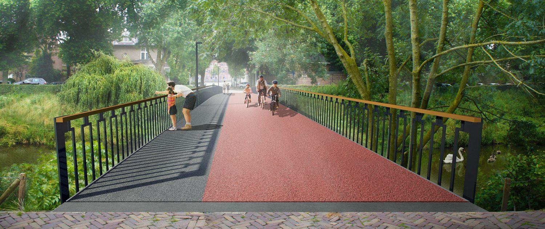 concept fietsbrug en voetgangersbrug vooraanzicht, ontwerp door ipvDelft