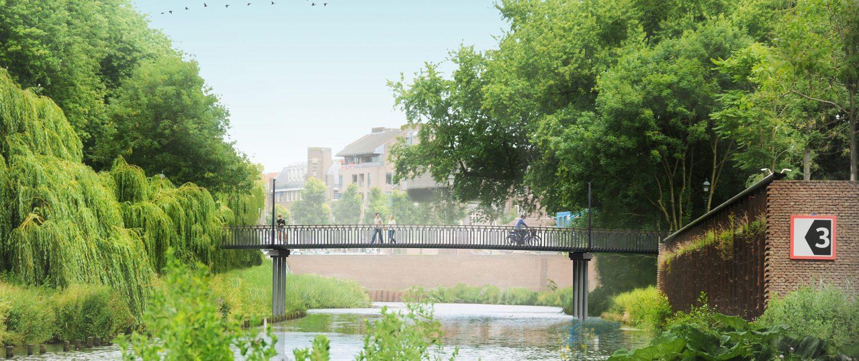 voorstelling fiets en voetgangersbrug zijaanzicht