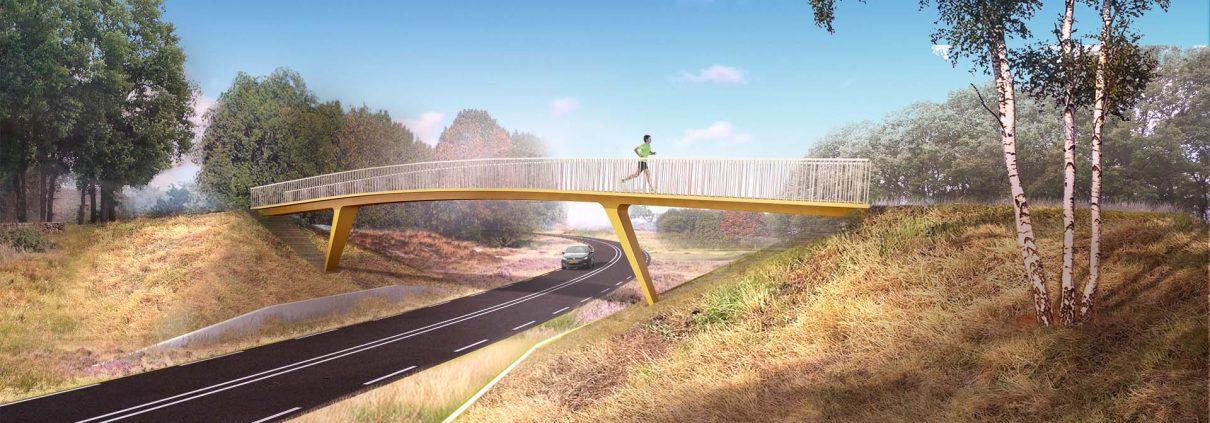 visualisatie voetgangersviaduct Voorthuizen, brugontwerp door ipvDelft