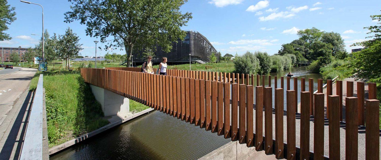 voetgangersbrug Leeuwarden, composiet dek, bamboe balusters