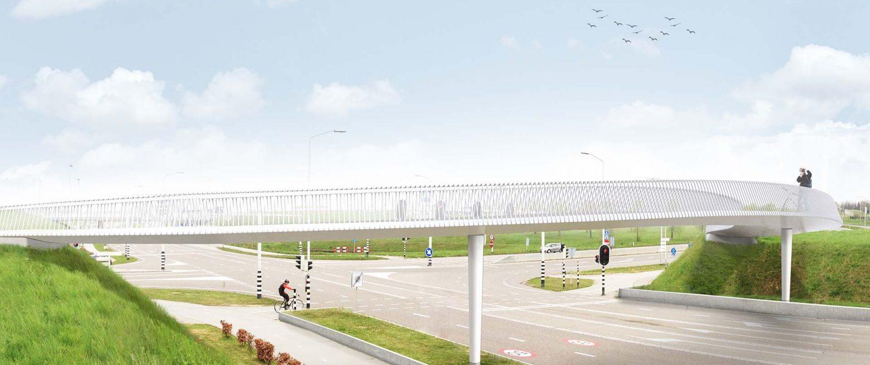 visualistatie snelfietsbrug Sittard Maastricht, ontwerp door ipvDelf