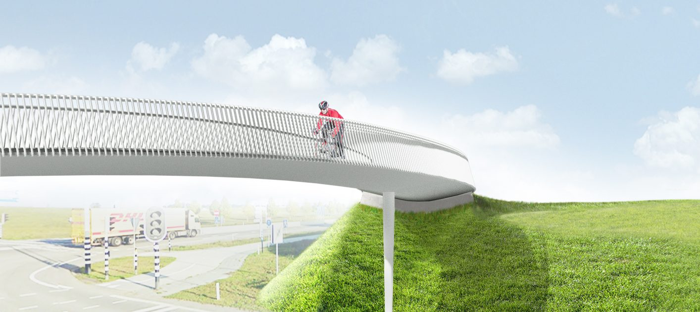 visualistatie snelfietsbrug Sittard Maastricht, ontwerp door ipvDelft