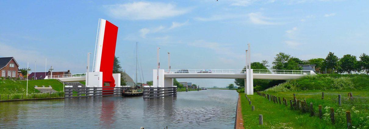 beweegbare brug, brug open Dronryp