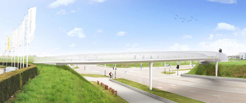 slanke stalen fietsbrug voor Maastricht bereikbaar