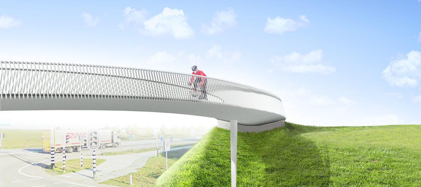 stalen fietsbrug hekwerk voor Maastricht