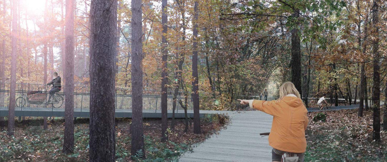 fietsbelevenis in het bos, fietsbrug in cirkelbaan tussen de boomtoppen, brugontwerp door ipvDelft