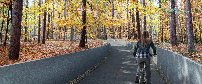 fietspad in het bos tussen boomtoppen in cirkelvorm, ontwerp door ipvDelft