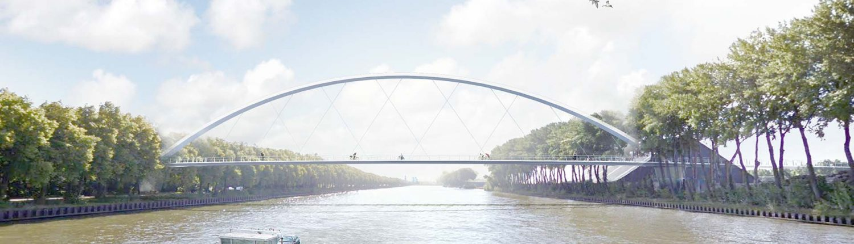 wateraanzicht schets fietsbrug ontwerp voor brug over Amsterdam Rijnkanaal