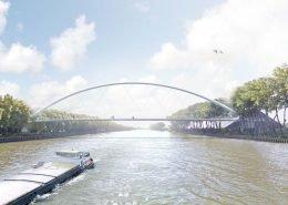schets fietsbrug ontwerp voor brug over Amsterdam Rijnkanaal