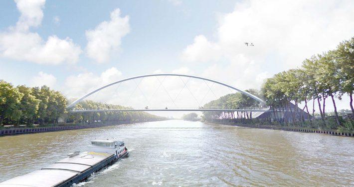 wateraanzicht schets fietsbrug ontwerp voor Geesinkbrug over Amsterdam Rijnkanaal