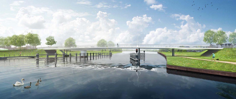 vanaf water DICHT ontwerp draaibrug Katwijk ipv Delft