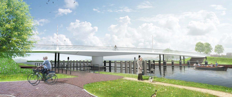 stalen draaibrug slank ontwerp verlichting fietspad ipv Delft