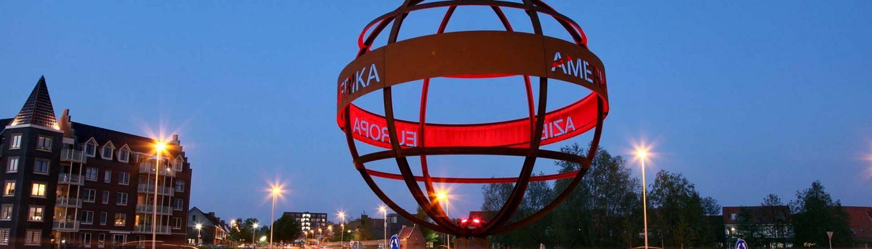 verlichting wereldbol rotonde lichtarchitectuur door ipv Delft