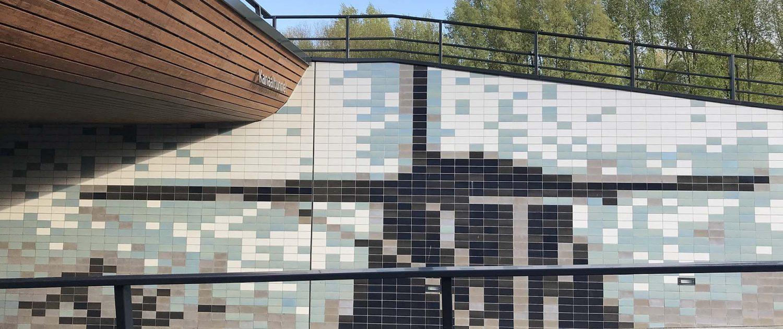 ontwerp tegelwand in tunnel Kanaalweg, wanddecoratie in molen vorm, ontwerp door ipv Delft