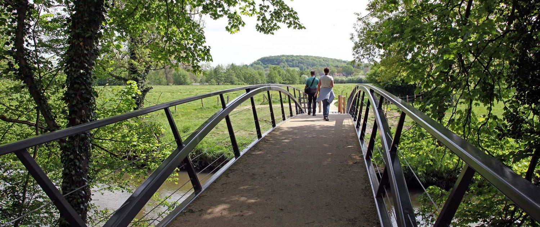 ingetogen stalen fiets en voetgangersbrug Heerlijkheid Geuldal ipv Delft