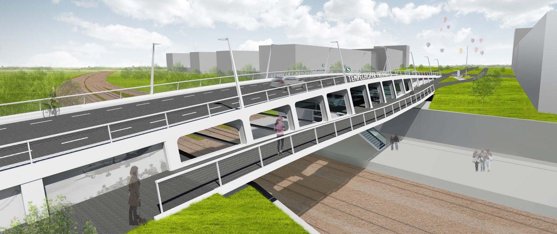 stalen verkeersbrug voetgangersdek tender Berlijn ontwerp ipv Delft