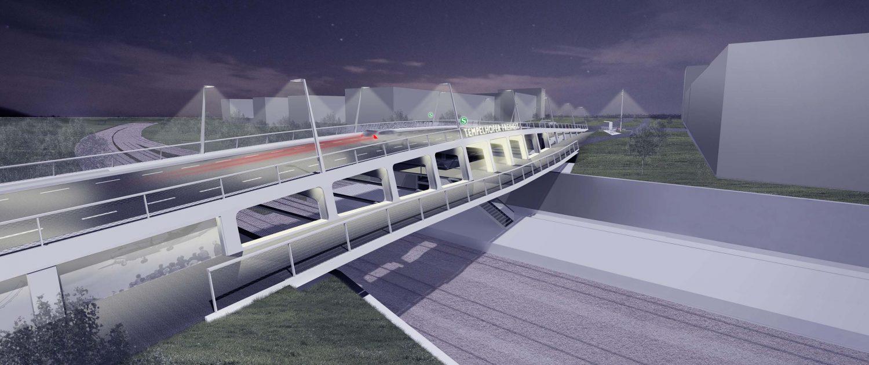 tender Tempelhof Berlijn nachtbeeld staalconstructie verkeersbrug ipv Delft