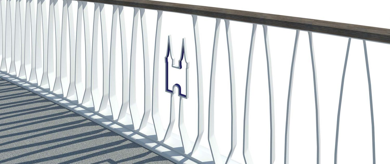 icoon in hekwerk, Delftse standaardbrug, detais van hekwerk, ontwerp door ipv Delft