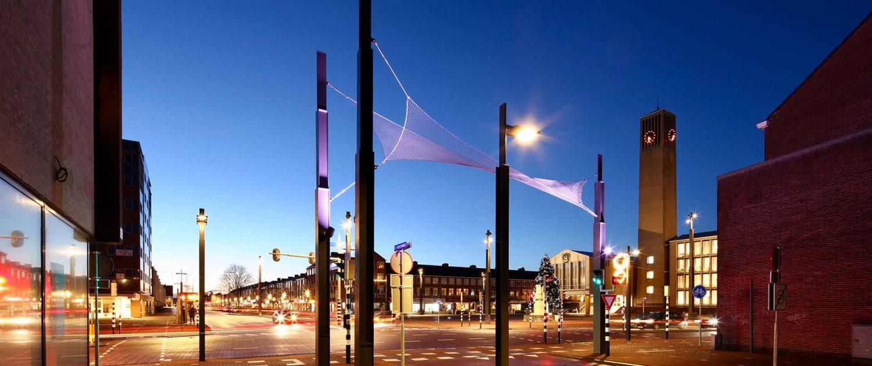 verlichting stalen netten pergola Velsen, ontwerp door ipv Delft