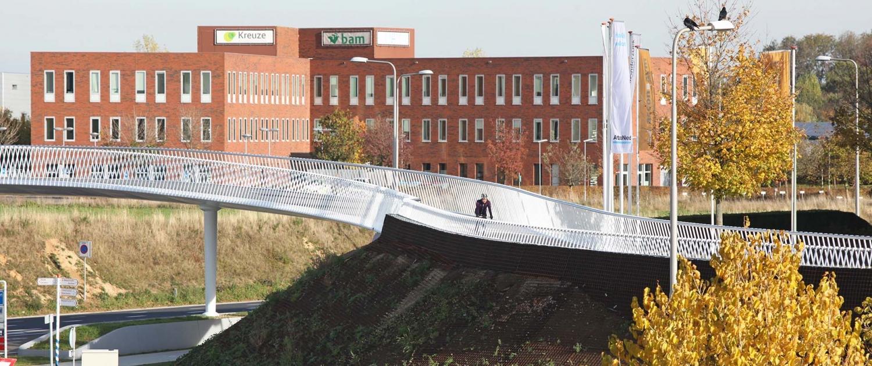 slingerend tracé fietsbrug Europalaan Beek ipv Delft