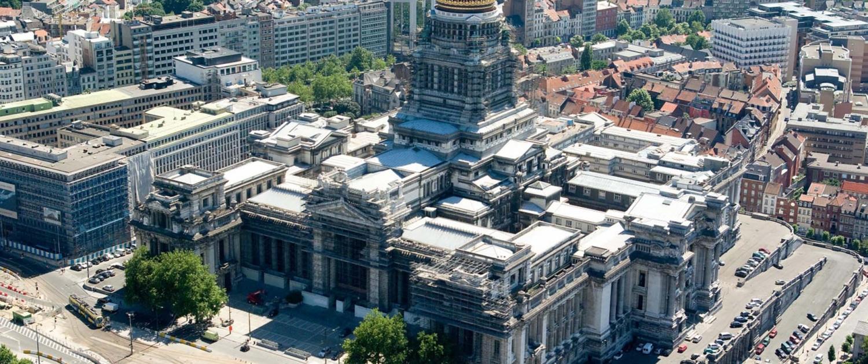 Lichtontwerp Justitiepaleis Brussel vanuit de lucht