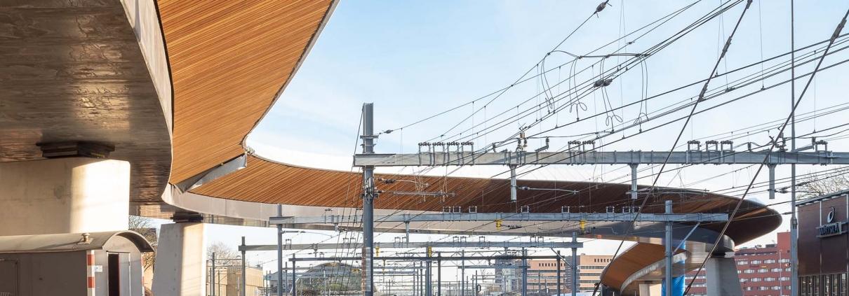 busbrug Zwolle over het spoor houten lamellen onderzijde