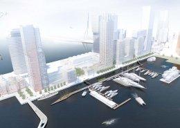 Vogelvlucht aanlegsteigers superjachten haven Rotterdam ontwerp artist impression
