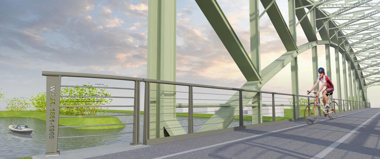 hekwerk trambrug Schipluiden inscriptie mosgroene brugconstructie