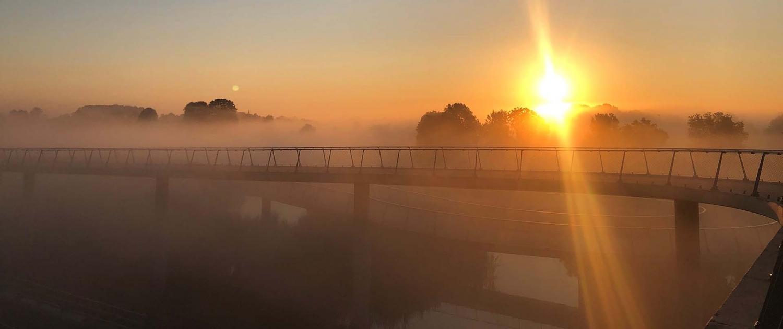 zonsopgang mist fietsbrug Nigtevecht hellingbaan
