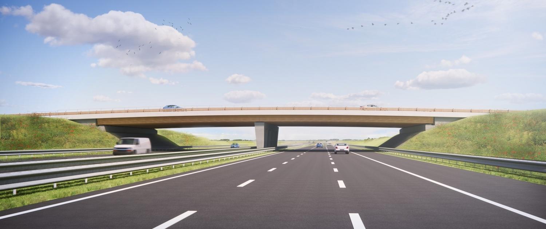 Hout-beton viaduct voor RWS
